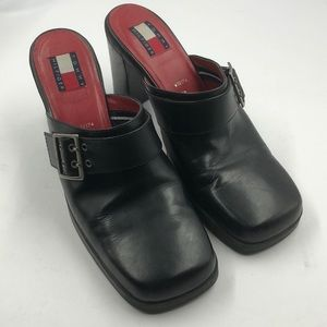 Tommy Hilfiger Black Leather Buckle Mules 10M
